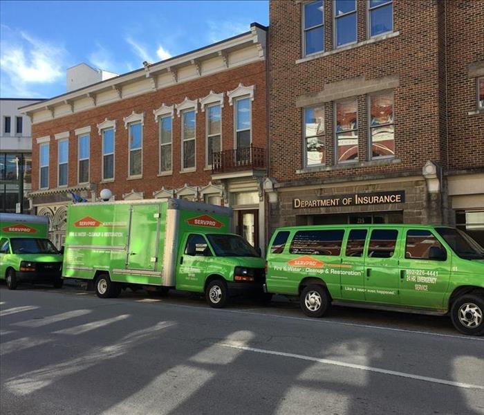 Our SERVPRO Vans Onsite for a Job in Downtown Frankfort, Kentucky
